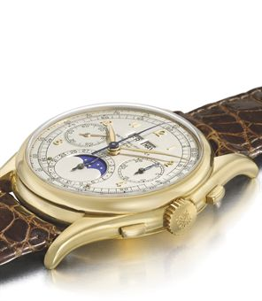 Patek Philippe. A unique and historically important 18K gold perpetual calendar chronograph wristwatch with moon phases and tonneau-shaped case