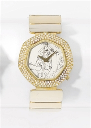 Anon An 18K gold and diamond-set heptagonal wristwatch with ...