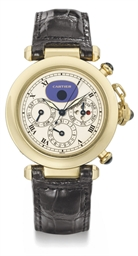 Cartier An 18K gold automatic perpetual calendar wristwatch ...