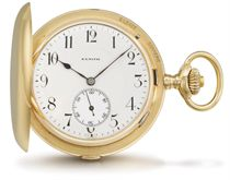 Zenith. A 14K gold hunter case two train carillon minute repeating grande sonnerie keyless lever watch