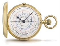 Webster. An unusual 18K gold half-hunter keyless duplex chronograph watch with hectometre scale