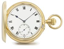 Carley & Clemence. An 18K gold hunter case minute repeating keyless lever watch