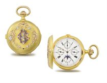 Guillouf. A fine and attractive 18K three colour gold, diamond, ruby and sapphire-set hunter case minute repeating calendar chronograph keyless lever watch with moon phases