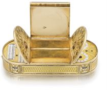 Jean-Georges Rémond and attributed to Piguet & Capt. A very fine and rare 18K gold and enamel musical snuff box with watch