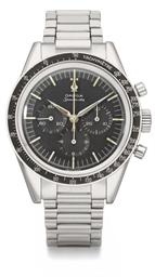 Omega A rare stainless steel chronograph wristwatch with bra...