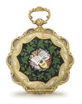 Courvoisier. A fine, rare and attractive 18K gold and enamel cylinder watch made for the Turkish market