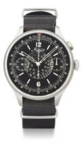 Minerva. A large and unusual stainless steel pilot's single button chronograph wristwatch with black dial