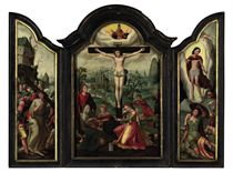 A triptych: the central panel: The Crucifixion with the Holy Virgin, Saint John the Evangelist and Saint Mary Magdalene; left wing: Christ carrying the Cross; right wing: The Resurrection