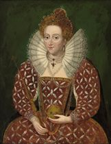 Portrait of Queen Elizabeth I (1533-1603), in a richly embroidered and bejewelled red dress, holding an orb and sceptre