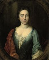 Portrait of Elizabeth Saville (d. 1749), half-length, in a blue silk dress and rust wrap, in a sculpted cartouche