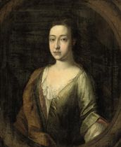 Portrait of Margaret Frank, Lady Standish, half-length, in a green silk dress and rust wrap, in a sculpted cartouche