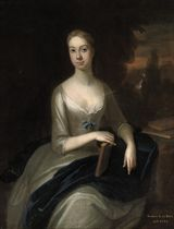Portrait of a lady, traditionally identified as Isabella Lady King, three-quarter-length, in a grey dress with a blue mantle, a book in her right hand, a landscape beyond