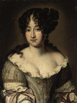 Portrait of a lady, half-length, in an embroidered pale blue and white dress with lace trimming