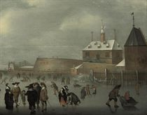 A winter landscape with skaters and kolf players on the ice, a house and a viewing point beyond