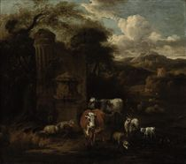 An extensive mountainous landscape with a herd of cattle, sheep and goats at water, by classical ruins, a hilltop tower and fortress beyond