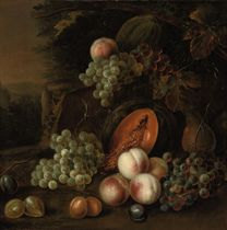 Grapes, plums, peaches, pears and pumpkins in a landscape