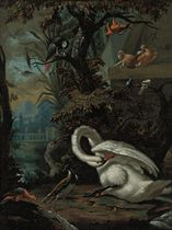 Swans, doves, macaws, an African grey parrot and other birds in a landscape
