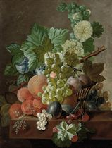 Grapes, peaches, plums, gooseberries, raspberries and other fruit on a stone ledge