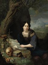 Portrait of a lady as the Penitent Magdalen, three-quarter-length, in a landscape