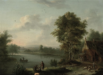 A river landscape with anglers