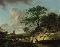 A wooded landscape with peasants conversing by a track and a drover with his herd, a church beyond