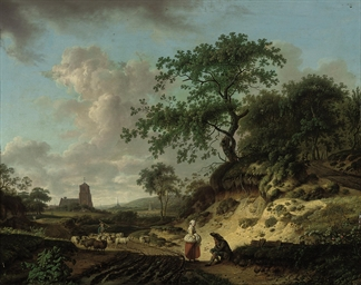 A wooded landscape with peasan