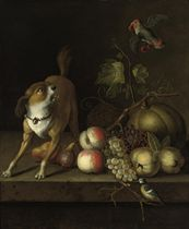 A dog, a blue tit and a parakeet with grapes, peaches, pears and pumkins on a ledge
