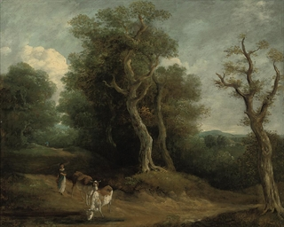 A wooded landscape with a drov