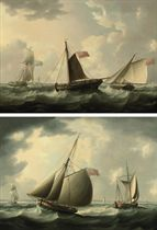 A Royal Navy frigate in choppy waters; and English and Dutch fishing boats off the coast
