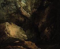 A rocky wooded river landscape