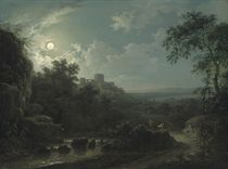 A moonlit river landscape with cattle on a track