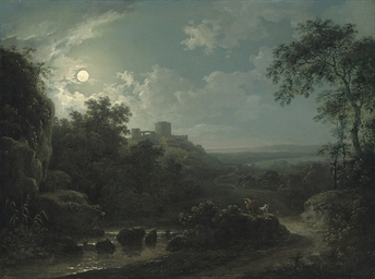 A moonlit river landscape with
