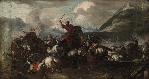 A battle scene with cavalry an