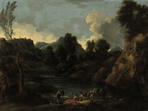 A rocky landscape with shepherds resting by a river, a young boy fishing beyond