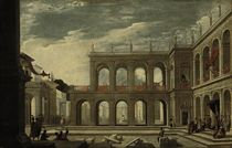An architectural capriccio with a king enthroned, and a group of people round a gallows