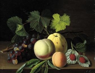 An apple, peaches, raspberries