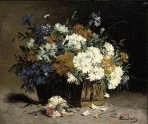 Cornflowers and chrysanthemums in a basket