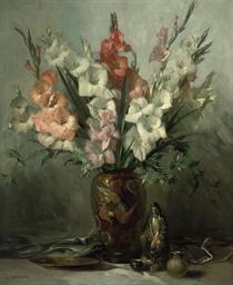 Gladioli in an Oriental vase w