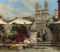 Flower sellers on the Spanish Steps, Rome