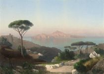 A rest on the road to Sorrento, Capri beyond