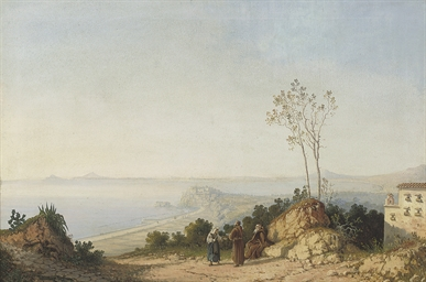 Monks conversing on a coastal