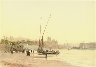 Feluccas moored on the Nile at
