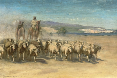 Shepherds herding their flock,
