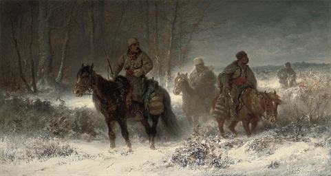 Cossacks scouting in a winter