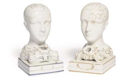 TWO PHRENOLOGICAL HEADS