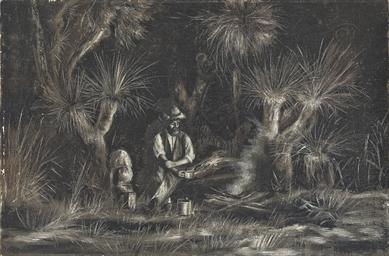 A bushman brewing up in a camp