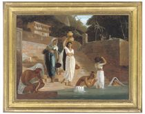 Hindu women and Brahmans at a ghat on the Ganges
