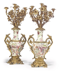 A PAIR OF NAPOLEON III ORMOLU-