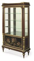 A FRENCH ORMOLU-MOUNTED MAHOGANY AND COROMANDEL LACQUER VITRINE