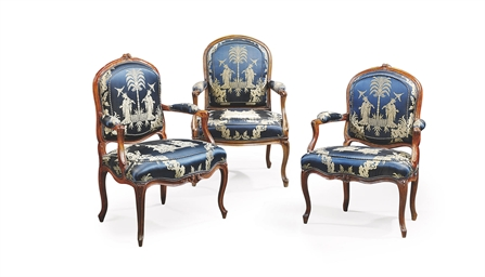 THREE LOUIS XV WALNUT FAUTEUIL